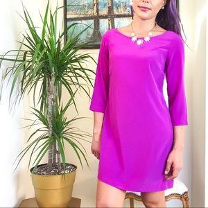 Fuchsia 3/4 Sleeve Mini Shift Dress